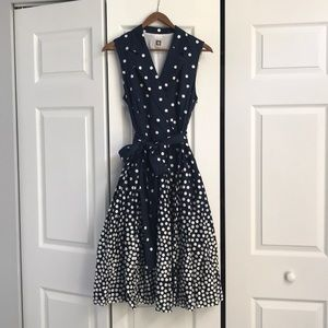 Anne Klein navy blue and white poke dot dress